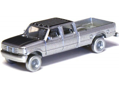 N36-L657.77 - N Scale 1992 River Point Station Ford F-250 4X4 Crew Cab Pickup - Sheriff (Pair, White)