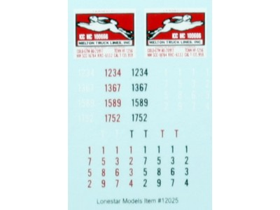HO Scale Lonestar Models  Melton Truck Lines Truck Tractor Decal Fleet Pack (5)