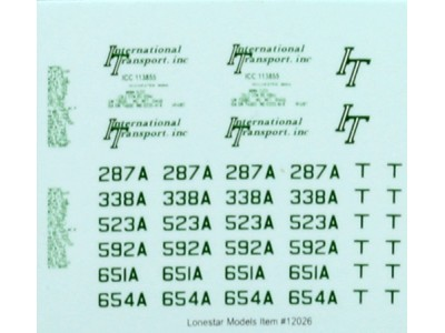 HO Scale Lonestar Models International Transport (Green) Truck Tractor Decal Fleet Pack (3)