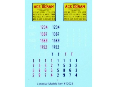 HO Scale Lonestar Models Ace Doran Truck Tractor Decal Set (1)