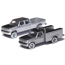 N38-3JL9.G1 - N Scale 1992 River Point Station Ford F-250 4X4 Crew Cab Pickup & F-350 Regular Cab Service Truck - Union Pacific (Orange)