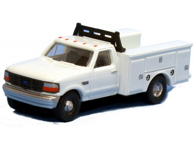 N36-J725.01 - N Scale 1992 River Point Station Ford F-350 4X4 Regular Cab Service Truck - White (Pair)