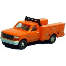N36-J725.09 - N Scale 1992 River Point Station Ford F-350 4X4 Regular Cab Service Truck - Orange (Pair)