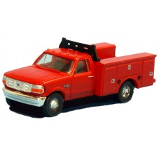 N36-J725.10 - N Scale 1992 River Point Station Ford F-350 4X4 Regular Cab Service Truck - Red (Pair)