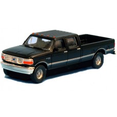 N36-L657.07 - N Scale 1992 River Point Station Ford F-250 4X4 Crew Cab Pickup - Black (Pair)