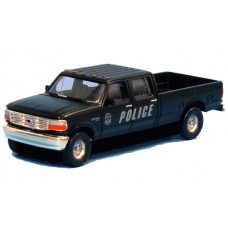 N36-L657.17 - N Scale 1992 River Point Station Ford F-250 4X4 Crew Cab Pickup - Police (Pair, Black)
