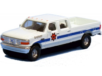 N38-L657.77 - N Scale 1992 River Point Station Ford F-250 4X4 Crew Cab Pickup - Sheriff (Pair, White)