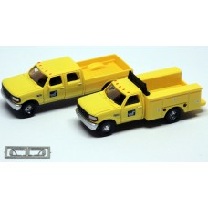 N38-3JL9.G8 - N Scale 1992 River Point Station Ford F-250 4X4 Crew Cab Pickup & F-350 Regular Cab Service Truck - Conrail (Yellow)