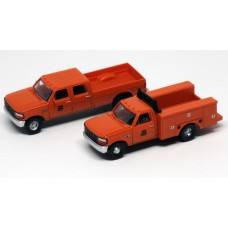 N38-3JL9.G6 - N Scale 1992 River Point Station Ford F-250 4X4 Crew Cab Pickup & F-350 Regular Cab Service Truck - Burlington Northern (Orange)