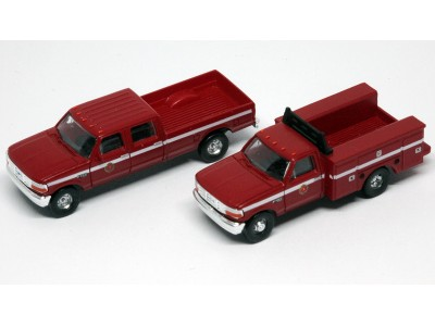 N38-3JL9.R5 - N Scale 1992 River Point Station Ford F-250 4X4 Crew Cab Pickup & F-350 Regular Cab Service Truck - Fire Department (Red)