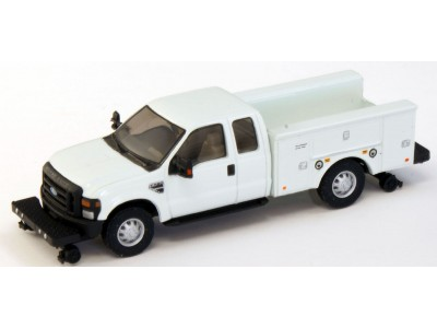 536-5227.01 - HO Scale River Point Station Ford F-350 XLT Super Cab Service/Utility Hi-Rail Truck - White