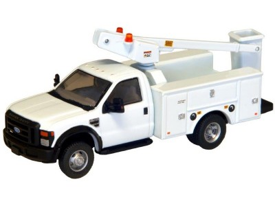 536-5726.01 - HO Scale River Point Station - Ford F-450 XL Short Cab Service/Utility Bucket Truck - DRW HD - White