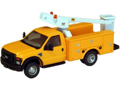 536-5726.02 - HO Scale River Point Station - Ford F-450 XL Short Cab Service/Utility Bucket Truck - DRW HD - Yellow