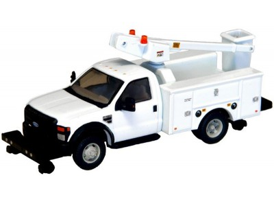 536-5729.01 - HO Scale River Point Station - Ford F-450 XL Short Cab Service/Utility Hi-Rail Bucket Truck - DRW HD - White
