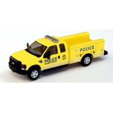 538-5221.P9 - HO Scale River Point Station Ford F-350 XLT Super Cab Service/Utility Truck - Yellow/Gray, Police Dept.