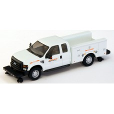 538-5228.73 - HO Scale River Point Station Ford F-350 XLT Super Cab Service/Utility Hi-Rail Truck - White, BNSF