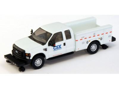 538-5228.94 - HO Scale River Point Station Ford F-350 XLT Super Cab Service/Utility Hi-Rail Truck - White, CSX