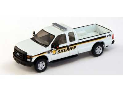 538-5257.W6 - HO Scale River Point Station Ford F-250 XLT Super Cab - White, Sheriff