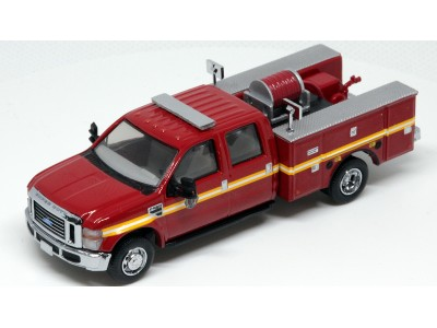 538-5402.79 - River Point Station 1/87 (HO) Scale 2008 Ford F-550 XLT 4X4 Crew Cab Dually Brush Fire Truck - Red/Striped