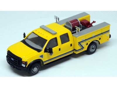 538-5402.86 - HO Scale River Point Station 2008 Ford F-550 XLT 4X4 Crew Cab Dually Brush Fire Truck - Yellow/Blue
