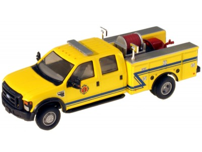 538-5402.86 - River Point Station 1/87 (HO) Scale 2008 Ford F-550 XLT 4X4 Crew Cab Dually Brush Fire Truck - Yellow/Blue
