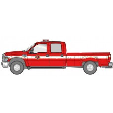 538-5955.R5 - River Point Station Ford F-350 XLT Crew Cab Dually - Fire Dept. Red/White, Chrome Trim