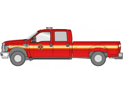 538-5657.79 - River Point Station Ford F-350 XLT Crew Cab - Fire Department, Red/Chrome Trim