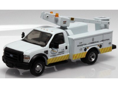 538-5726.42 - HO Scale River Point Station Ford F-450 XL Short Cab Service/Utility Bucket Truck - DRW HD -  I.C. Sparks Electrical Contractor (White)