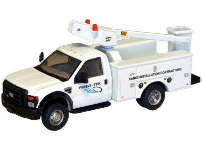 538-5726.51 - HO Scale River Point Station Ford F-450 XL Short Cab Service/Utility Bucket Truck - DRW HD -  Fiber-Tek Cable Installation Services (White)