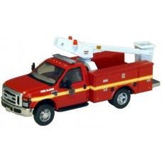 538-5726.79 - HO Scale River Point Station Ford F-450 XL Short Cab Service/Utility Bucket Truck - DRW HD - Fire Department Alarm Repair (Red)