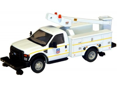 538-5729.87 - HO Scale River Point Station Ford F-450 XL Short Cab Service/Utility Hi-Rail Bucket Truck - DRW HD - Union Pacific (White)