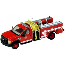 538-57A2.82 - HO Scale River Point Station  2010 Ford F-550 XLT Regular Cab Dually Mini-Pumper Fire Truck - Red/White Stripe