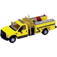 538-57A2.86 - HO Scale River Point Station 2010 Ford F-550 XLT Regular Cab Dually Mini-Pumper Fire Truck - Yellow/Blue Stripe