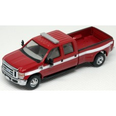 538-5955.R5 - HO Scale River Point Station Ford F-450 XLT Sport Crew Cab Dually - Fire Dept. Red/White, Chrome Trim