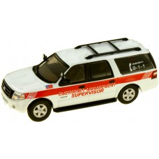 538-7607.M1 - HO Scale River Point Station 2007 Ford Expedition EL SSP - White/Red Stripe; Emergency Management Supervisor